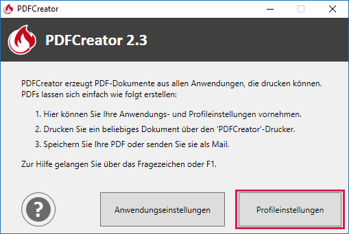 Screenshot der PDFCreator-Profileinstellungen
